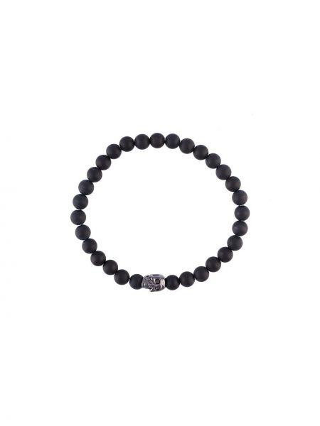 Czarna bransoletka srebrna oversize Nialaya Jewelry
