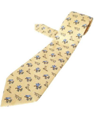 Krawat z jedwabiu - beżowy Hermès Vintage