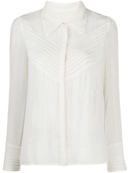 Белая классическая рубашка с воротником из вискозы с длинными рукавами Ba&sh
