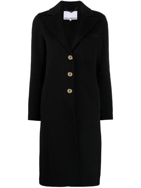 Прямое шерстяное черное длинное пальто с воротником Paco Rabanne