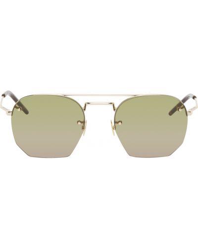 Czarne złote okulary Saint Laurent
