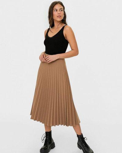 Плиссированная юбка бежевый Stradivarius
