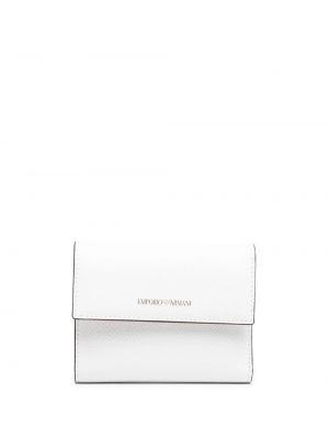 Biały portfel skórzany z printem Emporio Armani