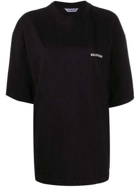 Bawełna czarny koszula z krótkim rękawem przeoczenie okrągły dekolt Balenciaga
