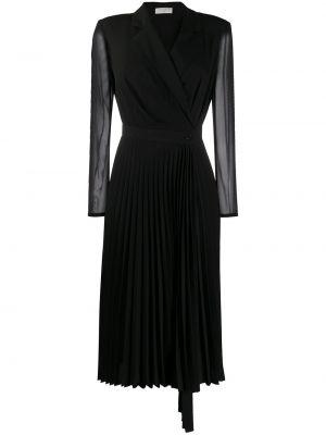 Черное плиссированное платье миди на пуговицах с V-образным вырезом Sandro Paris