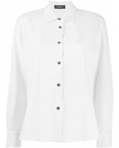 Рубашка с длинным рукавом в клетку белая Piazza Sempione