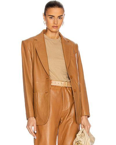 Кожаный коричневый пиджак с заплатками Alberta Ferretti