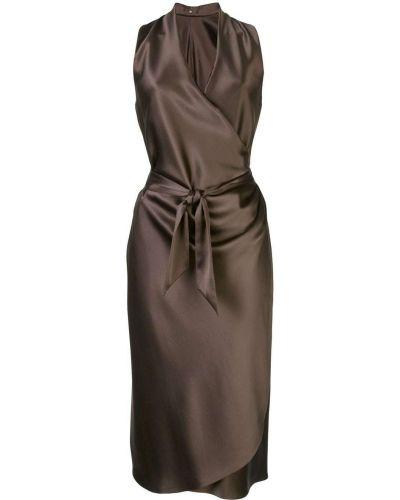 Коричневое платье миди с запахом на молнии Peter Cohen