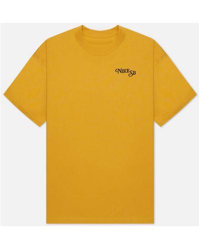 Желтая хлопковая футболка Nike Sb