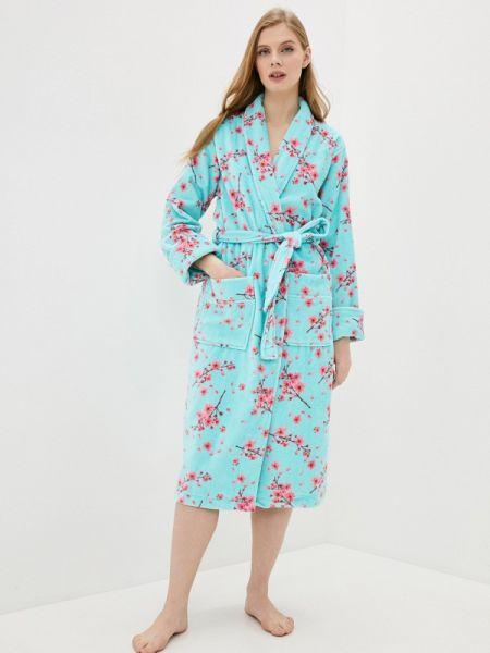 Бирюзовый домашний халат Luisa Moretti