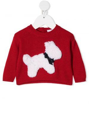 Красный шерстяной вязаный длинный свитер Il Gufo