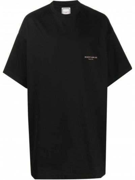 Хлопковая черная футболка с круглым вырезом круглая Wooyoungmi