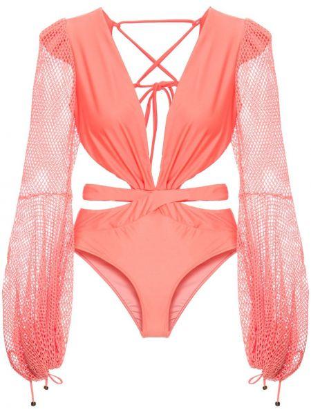 Пляжный розовый купальник с шортами с драпировкой с завязками Patbo
