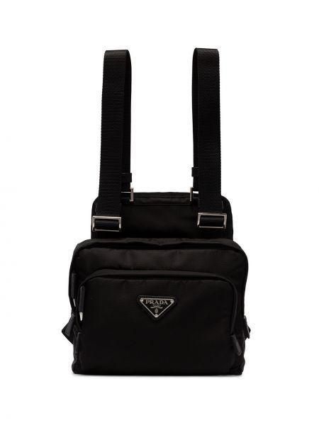 Czarny sport plecak z nylonu Prada
