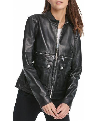 Черная кожаная длинная куртка с воротником Dkny