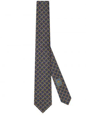 Niebieski krawat wełniany z printem Gucci