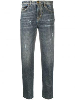 Хлопковые синие прямые джинсы с нашивками на пуговицах Jacob Cohen