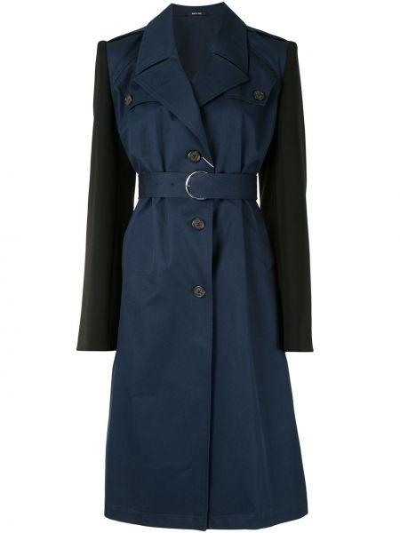 Синее пальто с поясом на пуговицах с лацканами Maison Margiela
