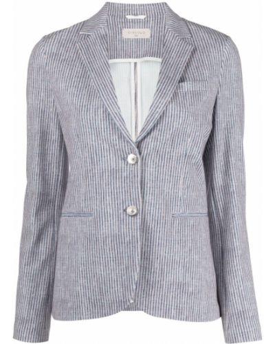 Синий удлиненный пиджак в полоску с воротником Circolo 1901