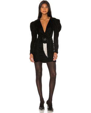 Czarna sukienka mini z falbanami z wiskozy Marianna Senchina