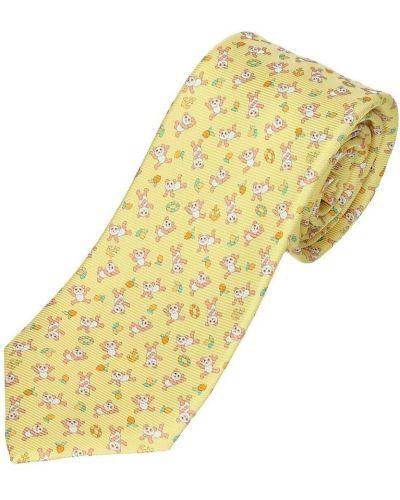 Żółty krawat Bvlgari