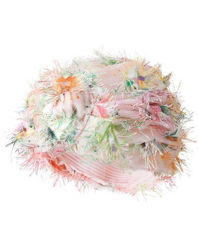 Nylon różowy turban z draperią Maison Michel