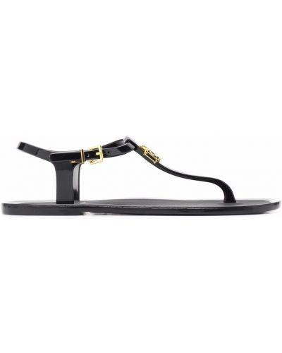 Czarne złote sandały płaska podeszwa Ralph Lauren Collection