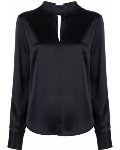 Czarny bluzka z długimi rękawami z mankietami Dkny