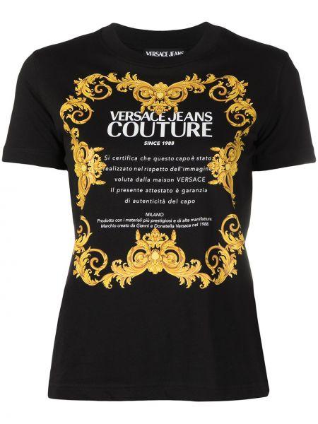 Прямая черная футболка с вырезом Versace Jeans Couture