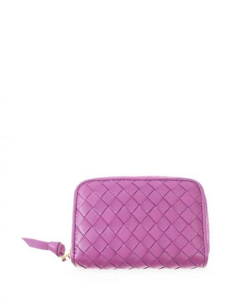 Кожаный золотистый фиолетовый кошелек на молнии Bottega Veneta Pre-owned