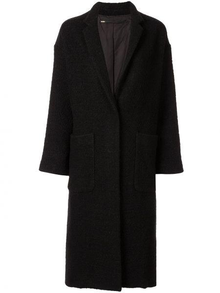 Шерстяное черное длинное пальто с капюшоном Muller Of Yoshiokubo