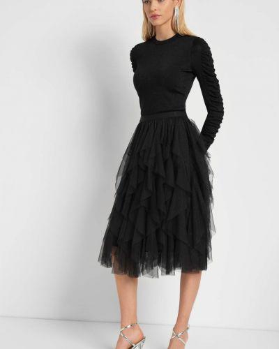 Czarna spódnica midi z falbanami tiulowa Orsay