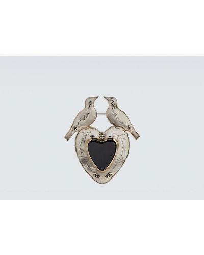 Broszka srebrna - czarna Alexander Mcqueen