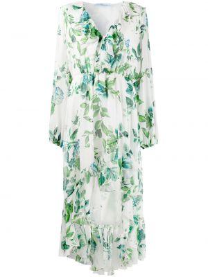 Приталенное шелковое белое платье макси Blumarine