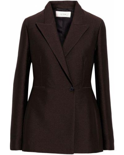 Коричневый пиджак двубортный с карманами The Row