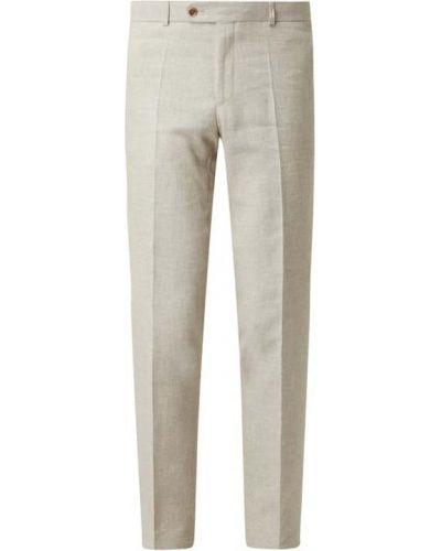 Beżowe spodnie bawełniane zapinane na guziki Carl Gross