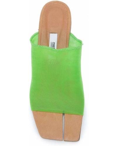 Кожаные открытые босоножки на каблуке с открытым носком Miista