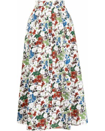 Biała spódnica rozkloszowana w kwiaty Erdem