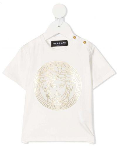 Biały t-shirt bawełniany krótki rękaw Young Versace