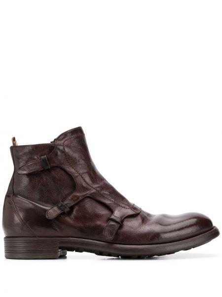 Z paskiem brązowy buty skórzane z prawdziwej skóry Officine Creative
