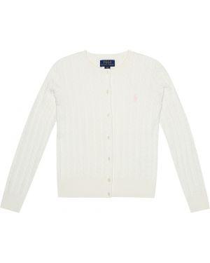 Biały ciepły kardigan bawełniany Polo Ralph Lauren Kids