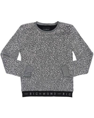 Srebro bawełna sweter z wiskozy prążkowany John Richmond