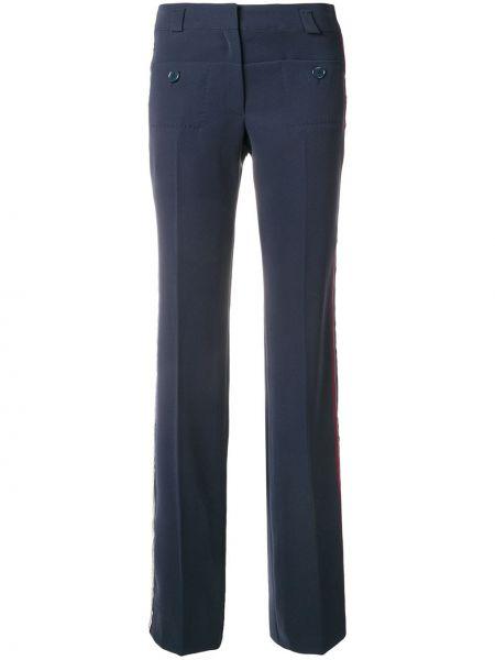 Niebieskie spodnie z paskiem z jedwabiu Carven