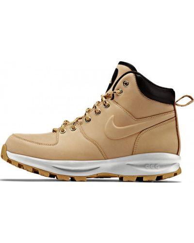 Кожаные кроссовки коричневый на шнуровке Nike