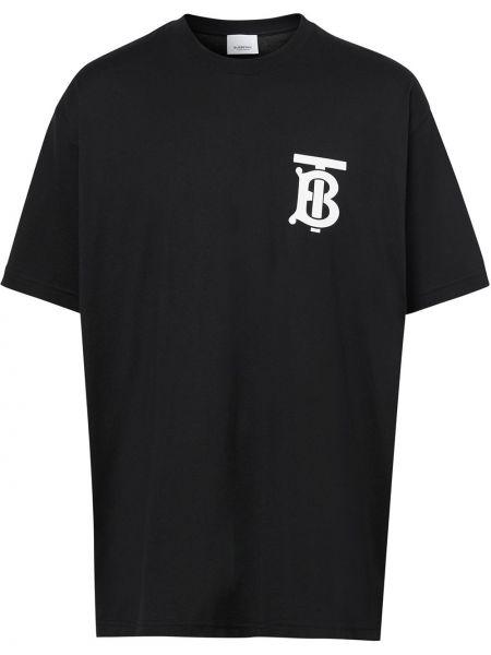 Bawełna prosto czarny koszula z krótkim rękawem okrągły dekolt Burberry