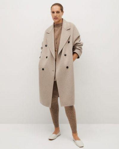 Деловое шерстяное серое пальто с воротником Mango