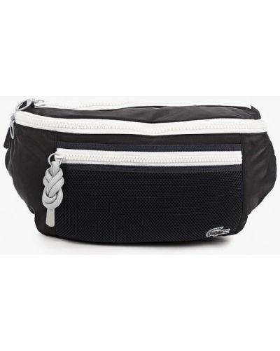 Текстильная черная поясная сумка Lacoste