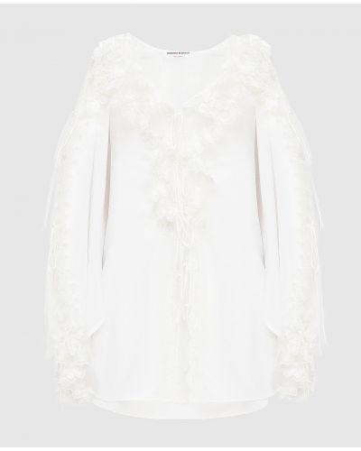 Шелковая белая блузка с оборками Ermanno Scervino
