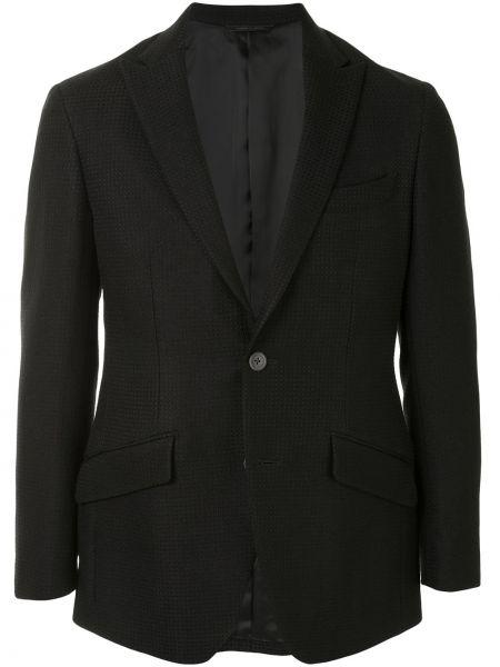 Шерстяная черная длинная куртка с карманами с лацканами D'urban
