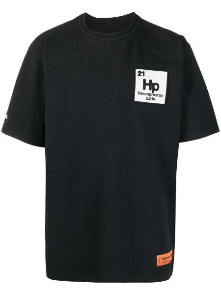 Czarny koszula krótkie rękawy z łatami Heron Preston